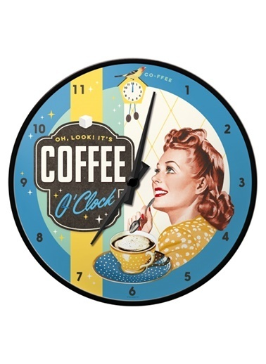 Nostalgic Art Coffee O' Clock Duvar Saati Renkli